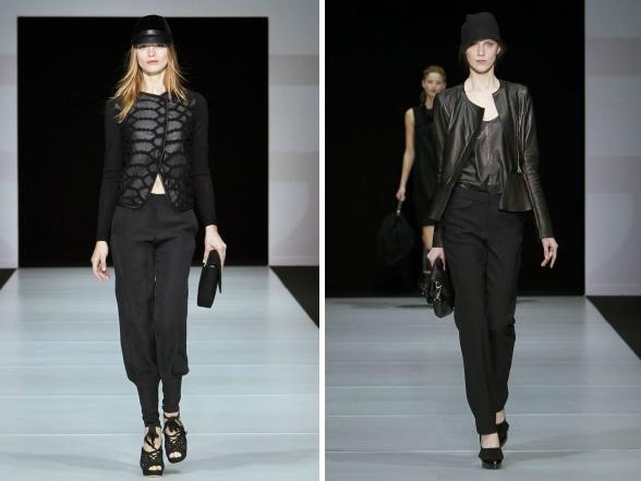 Az Armani divatház téli kollekciójának alapszíne a fekete, amely az elegancia és a letisztultság védjegye.